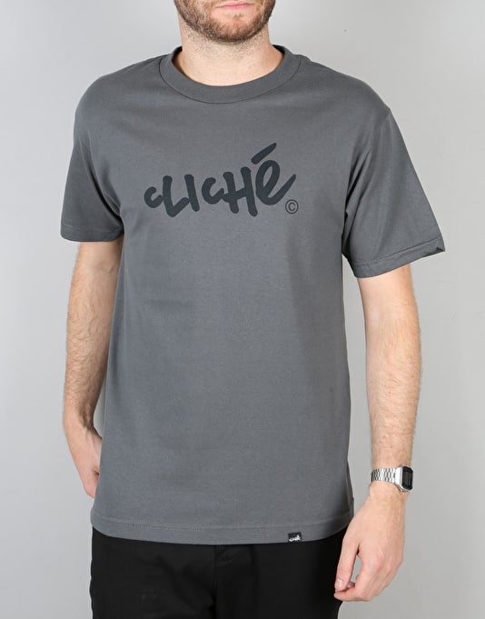 Cliché Handwritten T-Shirt - Charcoal Heather