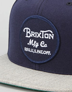 Brixton Wheeler Snapback Cap - Navy/Light Heather