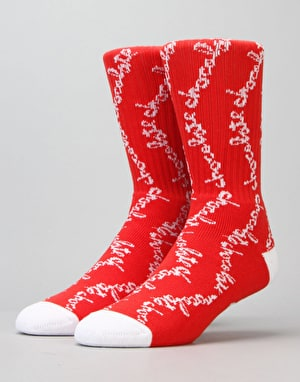 HUF x Chocolate Chunk Crew Socks - Red