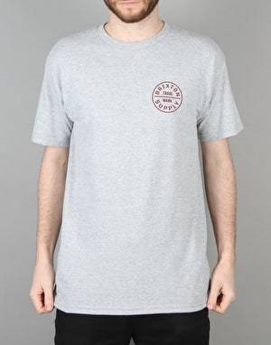 Brixton Oath S/S T-Shirt - Heather Grey/Burgundy
