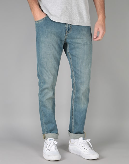 Route One Skinny Denim Jeans - Washed Blue