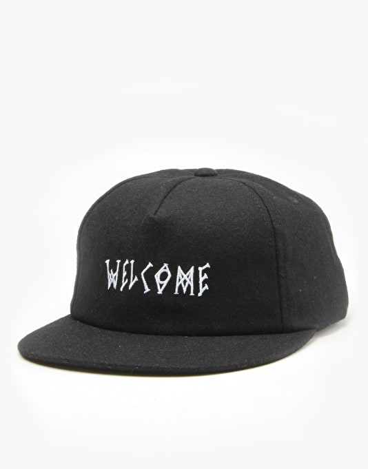 Welcome Scrawl Strapback Cap - Black/White