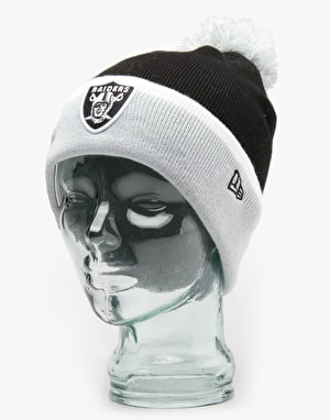 New Era NFL Oakland Raiders Team Cuff Bobble Beanie - Black/Grey