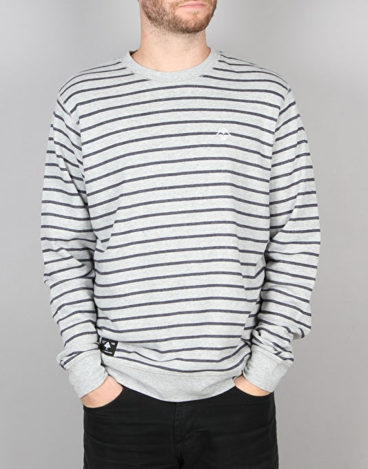 LRG Fairway Stripe Crewneck Sweatshirt - Ash Heather