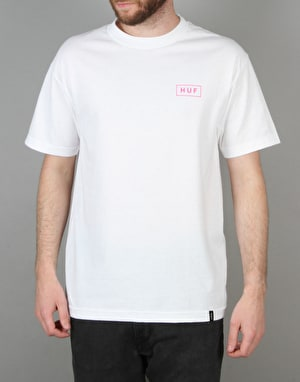 HUF Bar Logo T-Shirt - White/Pink