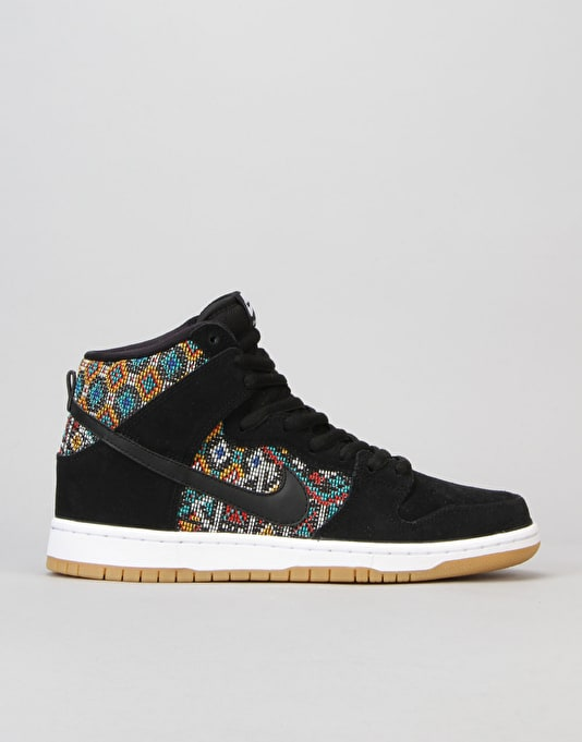 Nike SB Dunk High Premium Skate Shoes - Black/Black-Rio Teal-White