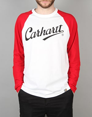 Carhartt League L/S T-Shirt - White/Fire
