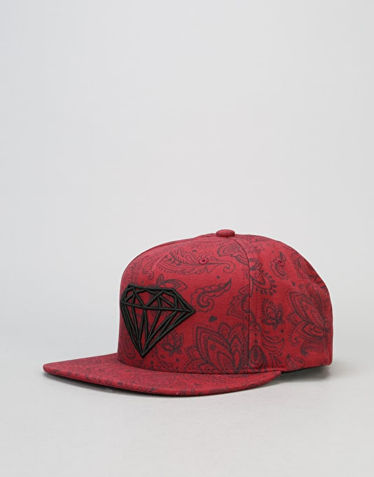 Diamond Supply Co. Radiant 5 Panel Cap - Burgundy