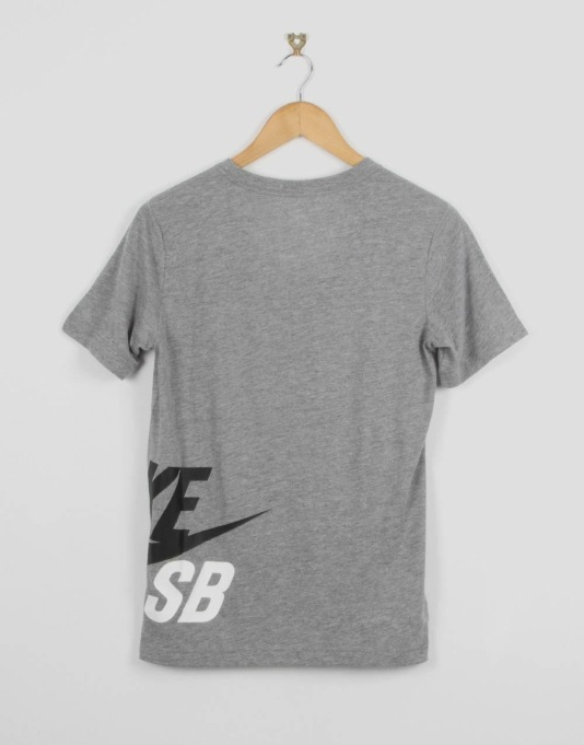 Nike SB Wrap Around Logo Boys T-Shirt - Dark Grey Heather/Black