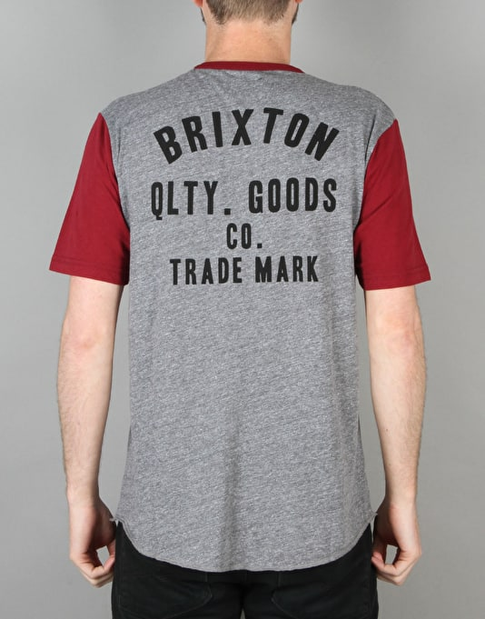 Brixton Woodburn Knit T-Shirt - Heather Grey/Burgundy