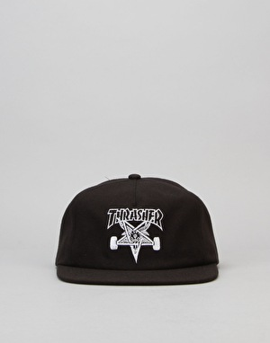 Thrasher Skategoat Wool Blend Snapback Cap - Black