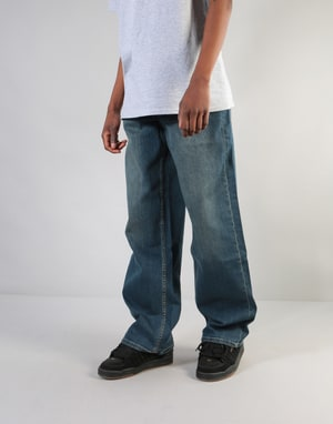 Route One Baggy Denim Jeans - Mid Wash