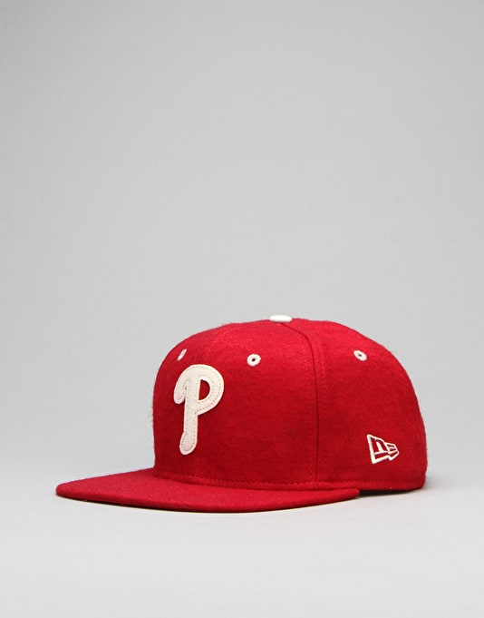 New Era MLB Philadelphia Phillies Felt Wool 9Fifty Snapback Cap - Red