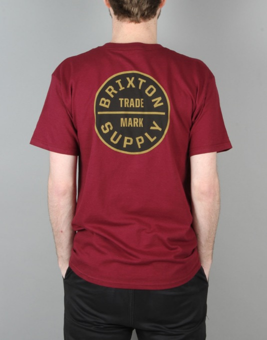 Brixton Oath S/S T-Shirt - Burgundy/Gold