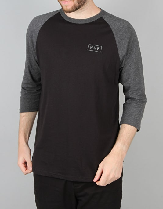 HUF Reflective Bar Logo Raglan T-Shirt - Black/Charcoal Heather