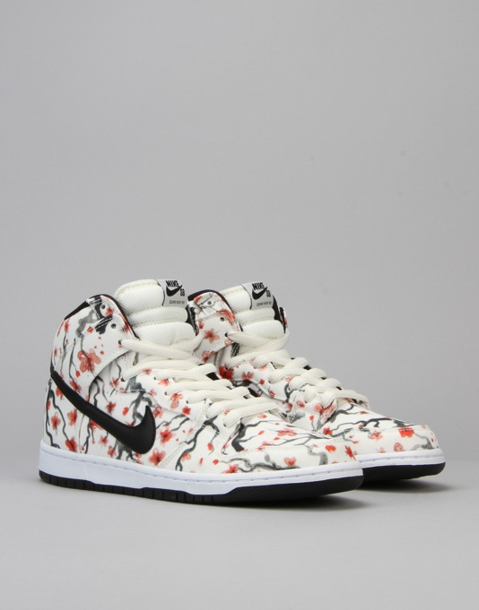 Nike SB Dunk High Pro Skate Shoes - Sail/Black-Lt-Crimson-White