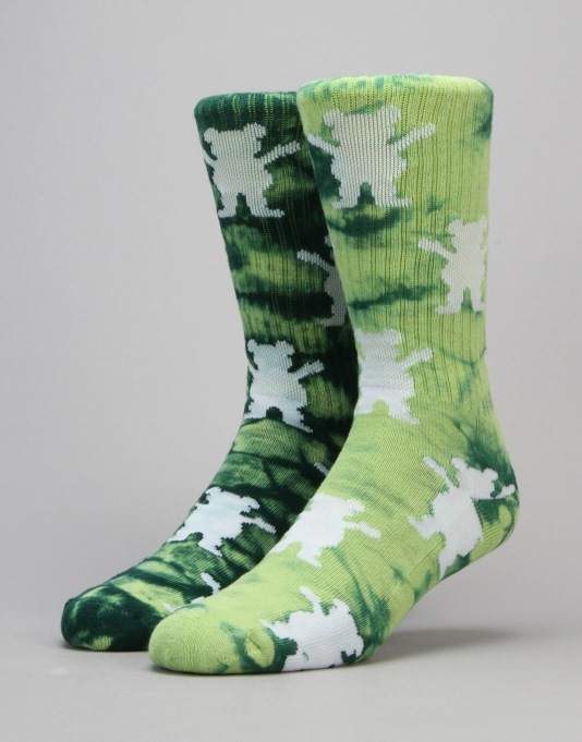 Grizzly Repeat Tie Dye Socks - Lime