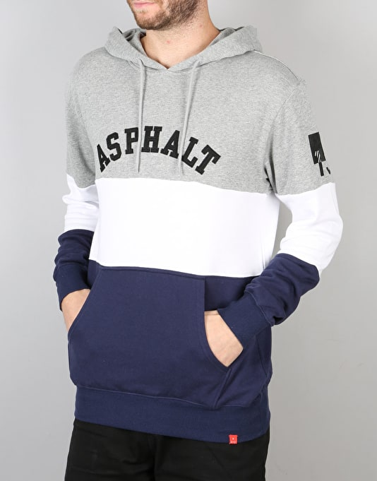 Asphalt Yacht Club Triblock Pullover Hoodie - Heather Grey/Indigo