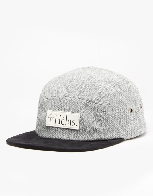 Hélas Capone 5 Panel Cap - Heather Grey/Black Suede