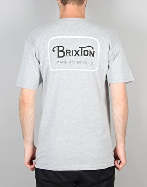 Brixton Grade S/S T-Shirt - Heather Grey/White