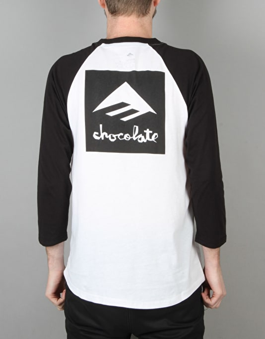 Emerica x Chocolate Logo Raglan T-Shirt - Black/White