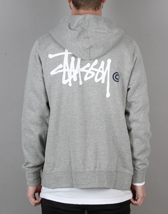 Stüssy Basic Logo Zip Hoodie - Grey Heather