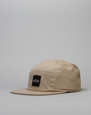 Route One Box Logo 5 Panel Cap - Khaki