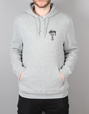 Stüssy World Tour Pullover Hoodie - Grey Heather
