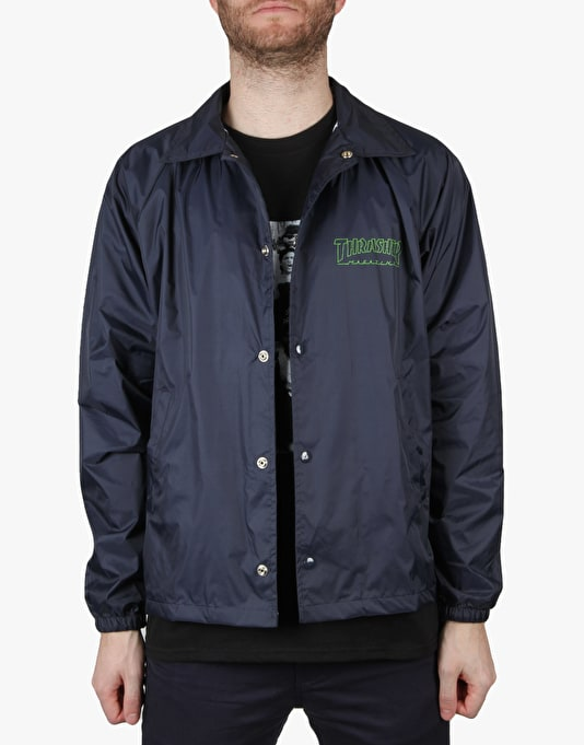 Thrasher Circuit Goat Coach Jacket - Navy/Electric Green
