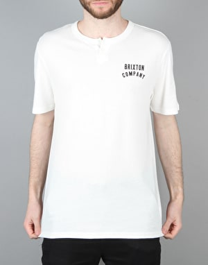 Brixton Woodburn S/S Henley T-Shirt - Off White