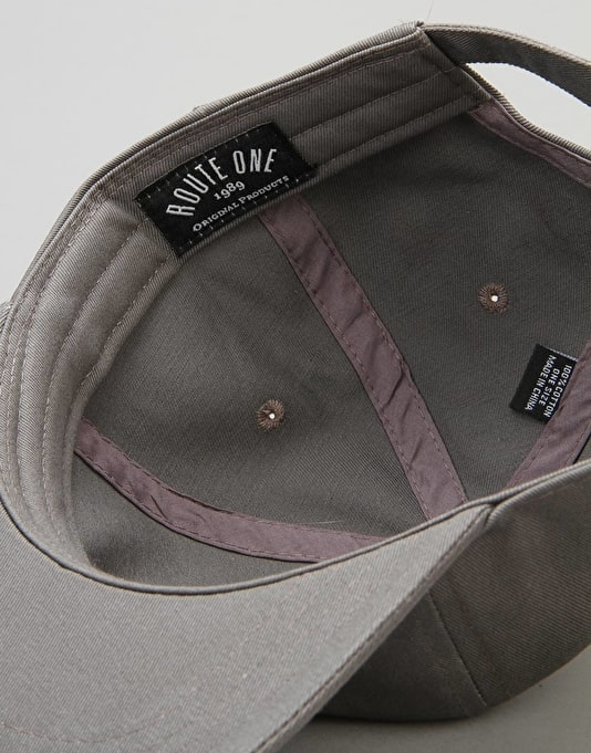 Route One Triple OG 6 Panel Cap - Charcoal