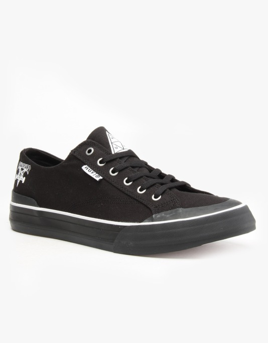 HUF x Thrasher Classic Lo Skate Shoes - Black Canvas
