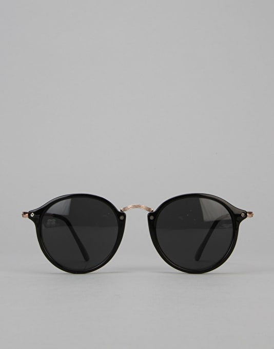Route One Basics Round With Metal Arms Sunglasses - Black