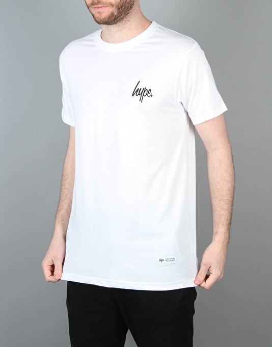 Hype Left Breast Script T-Shirt - White/Black