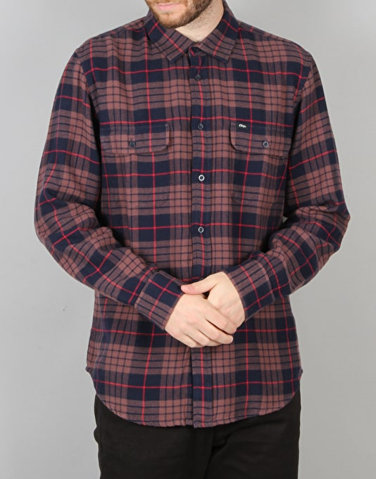 Obey Wyatt Woven L/S Shirt - Navy Multi