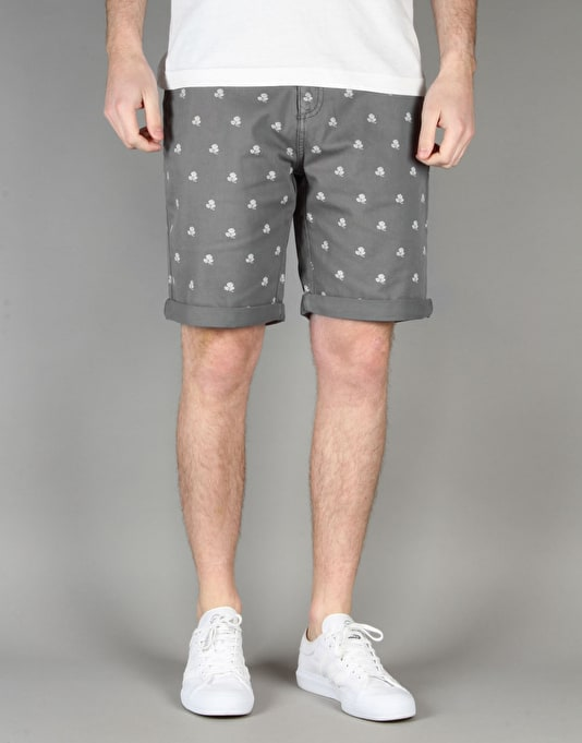 Route One Rose Printed Chino Shorts - Grey