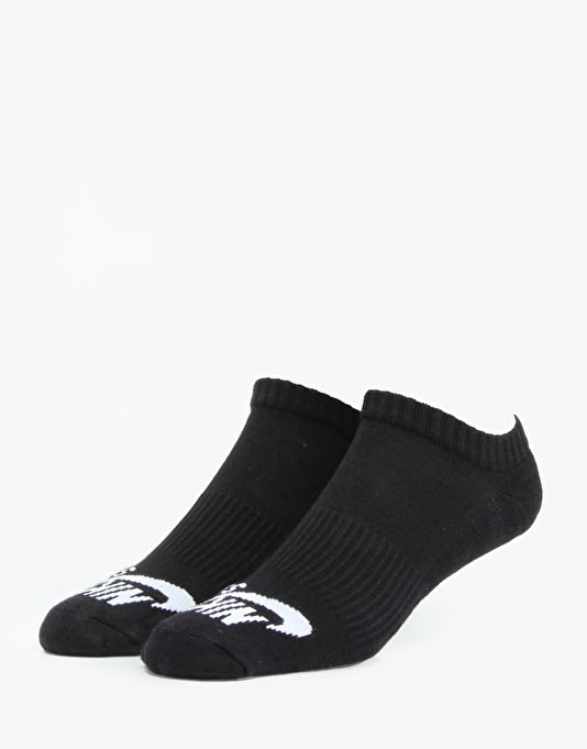 Nike SB No Show Socks 3 Pack - Black (White)