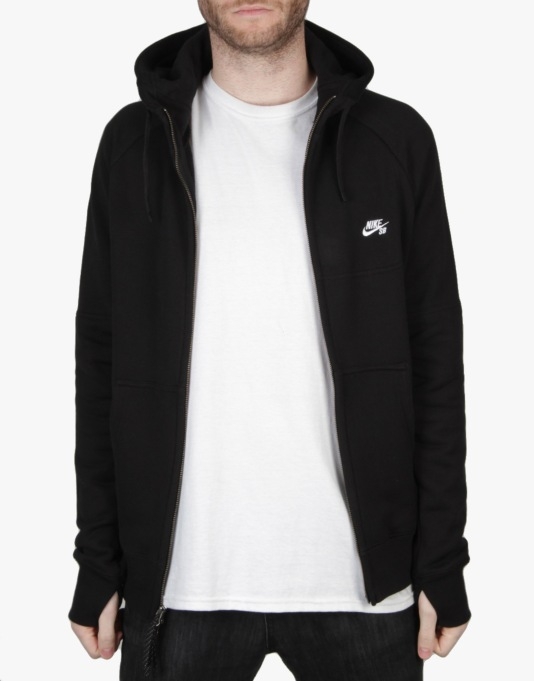Nike SB Everett Graphic Full Zip Hoodie - Black/White