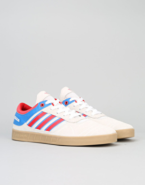Adidas Claremont ADV Skate Shoes - Crystal White/Scarlet/Bluebird