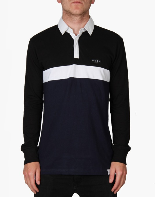 Nicce Rugby Stripe Shirt - Black/Navy