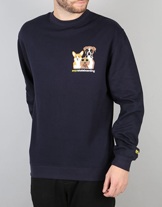 Enjoi Gone To The Dogs Crew Sweatshirt - Navy