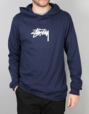 Stüssy Marker Stock L/S Hooded T-Shirt - Navy