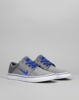 Nike SB Portmore Boys Skate Shoes - Cool Grey/Racer Blue/Black