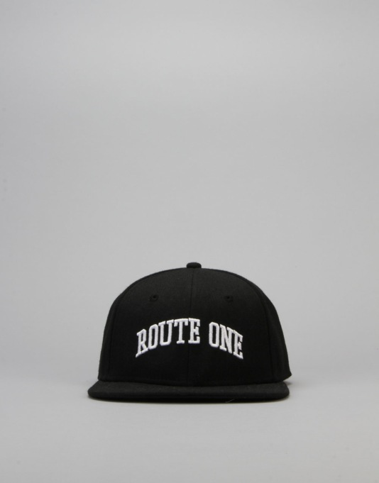 Route One College Snapback Cap - Black