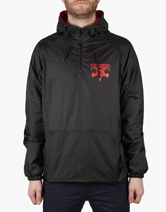 Thrasher Skategoat Hooded Coach Jacket - Black/Red