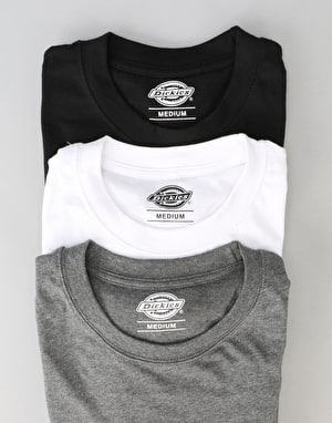 Dickies Multi Colour T-Shirt 3 Pack - White/Dark Grey Melange/Black