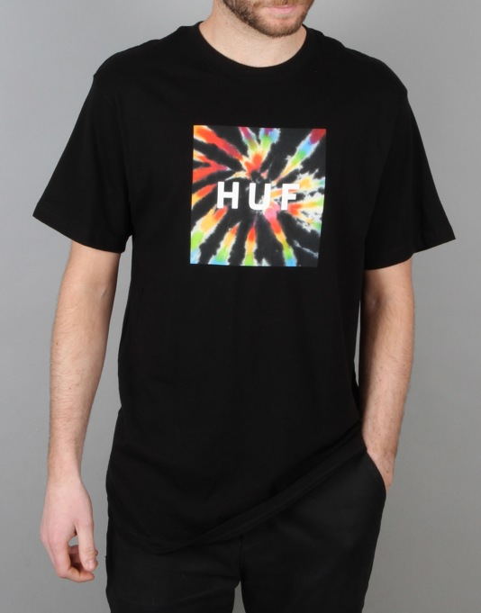HUF Box Logo Fill Tie-Dye T-Shirt - Black