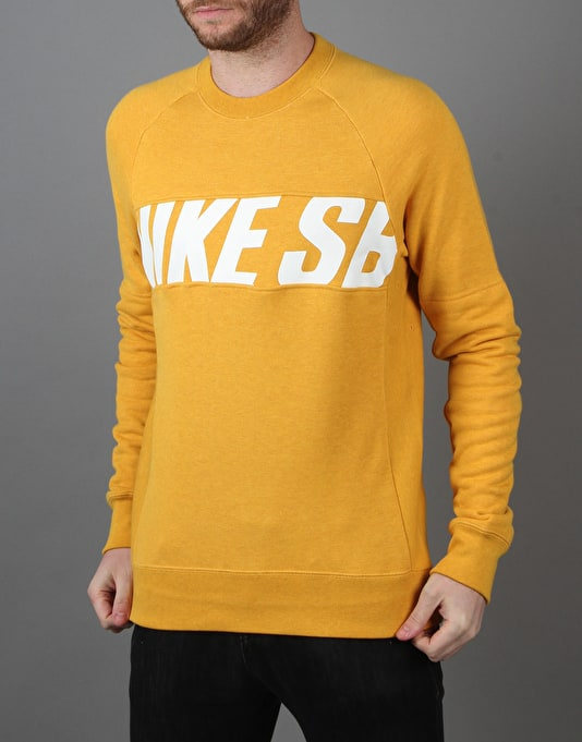 Nike SB Everett Motion Fleece Crew - Pro Gold Heather/White