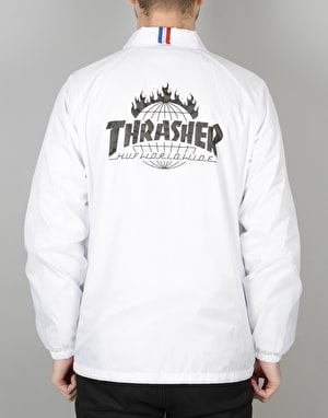 HUF x Thrasher TDS Coach Jacket - White