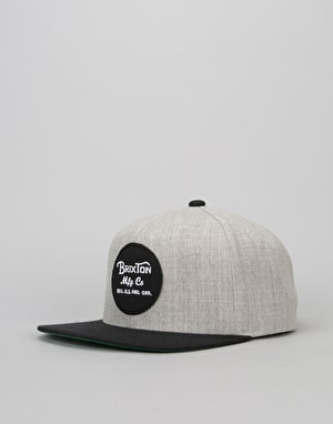 Brixton Wheeler Snapback Cap - Light Heather Grey/Black